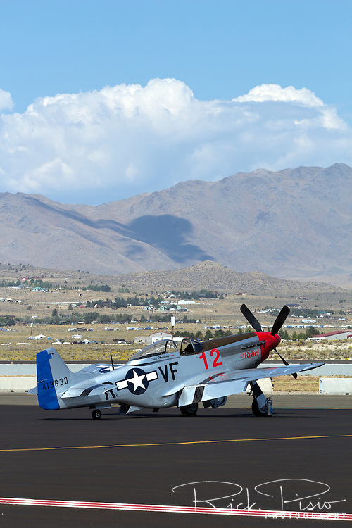 """P-51 Mustang """"The Rebel"""" sits on the Stead Field tarmac during the 2013 National Championship Air Races"""