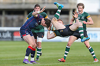 Murray McConnell of Nottingham Rugby is hit by Peter Lydon of London Scottish as he collects a high ball during the Greene King IPA Championship match between London Scottish Football Club and Nottingham Rugby at Richmond Athletic Ground, Richmond, United Kingdom on 15 April 2017. Photo by David Horn.