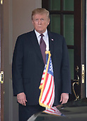 United States President Donald J. Trump waits to welcome Prime Minister Viktor Orban of Hungary to the White House in Washington, DC on Monday, May 13, 2019.  The two leaders will meet for about an hour.<br /> Credit: Ron Sachs / CNP