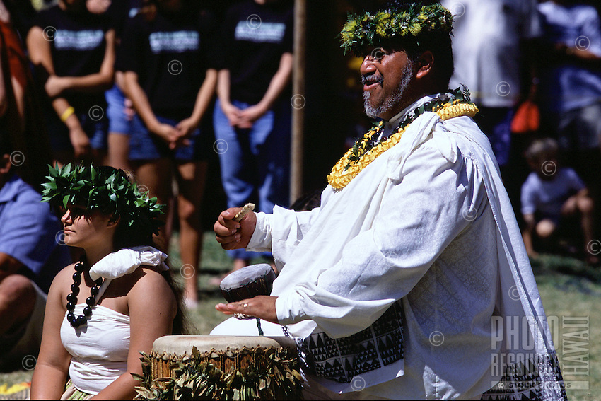 Kumu playing Pahu at the Hokulea Arrival Ceremony in Kailua