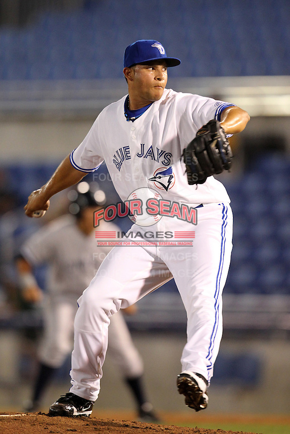 Dunedin Blue Jays pitcher Aleson Escalante #48 during a game against the Tampa Yankees at Dunedin Stadium on April 28, 2012 in Dunedin, Florida.  Dunedin defeated the Yankees 6-1.  (Mike Janes/Four Seam Images)