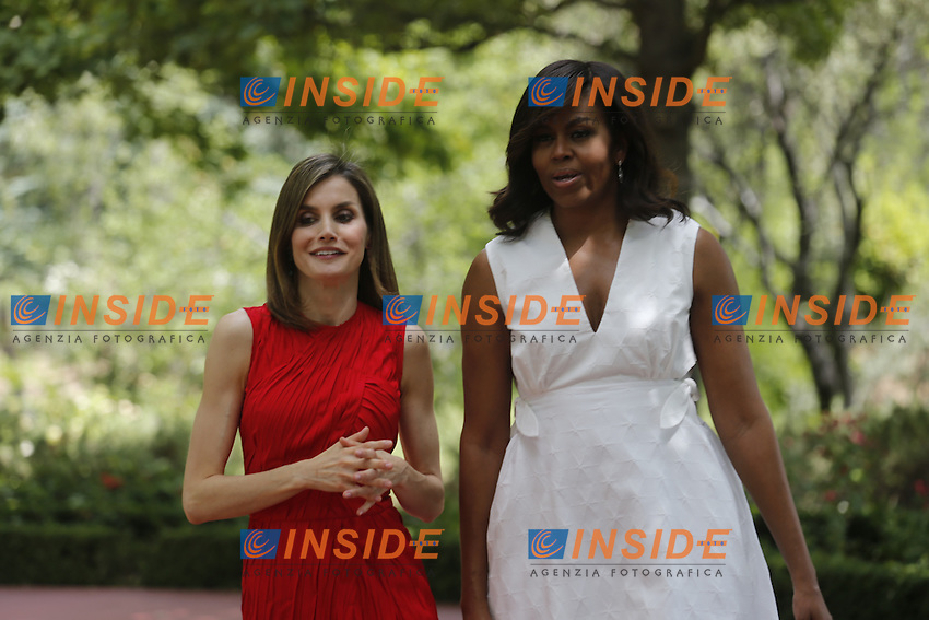 "Queen Letizia of Spain and United States First Lady Michelle Obama before the speech of ""Let Girls Learn"" at Matadero in Madrid. June 30. 2016. WALTER KOVACS / Panoramic/Insidefoto"