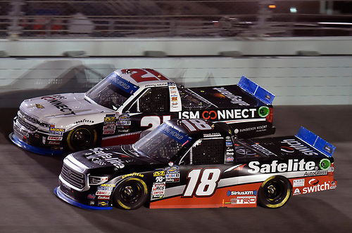 #18: Noah Gragson, Kyle Busch Motorsports, Toyota Tundra Safelite AutoGlass and #21: Johnny Sauter, GMS Racing, Chevrolet Silverado ISM Connect