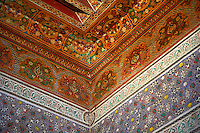 Berber arabesque interior wood ceiling panels of  the Petite Court, Bahia Palace, Marrakesh, Morroco