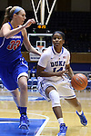 19 December 2014: Duke's Ka'lia Johnson (14) and UMass Lowell's Lindsey Doucette (33). The Duke University Blue Devils hosted the University of Massachusetts Lowell River Hawks at Cameron Indoor Stadium in Durham, North Carolina in a 2014-15 NCAA Division I Women's Basketball game. Duke won the game 95-48.
