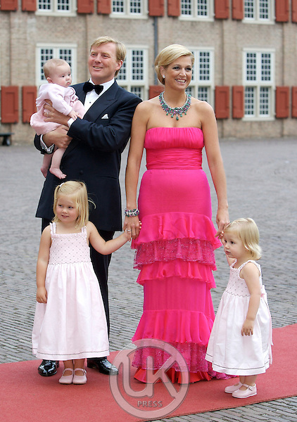 Crown Prince Willem Alexander, and Crown Princess Maxima of Holland arrive with Daughters, Princess Catharina Amalia, and Princess Ariane, and Princess Alexia, for a Reception at Het Loo Palace in Apeldoorn, to celebrate the 40th Birthday of Crown Prince Willem Alexander, The Prince turned forty in April earlier this year.