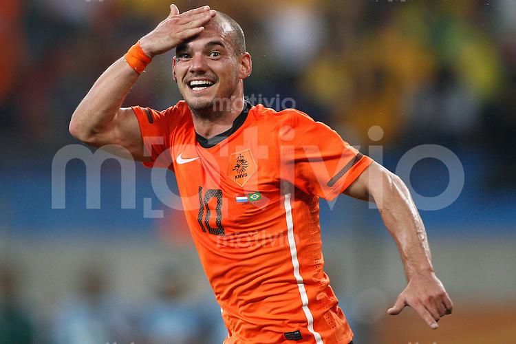 FUSSBALL WM 2010   VORRUNDE    VIERTELFINALE    07.07.2010 Holland - Brasilien Wesley SNEIJDER (Holland) bejubelt seinen Treffer zum 1:1