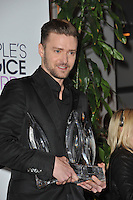 Justin Timberlake in the pressroom at the 2014 People's Choice Awards at the Nokia Theatre, LA Live.<br /> January 8, 2014  Los Angeles, CA<br /> Picture: Paul Smith / Featureflash