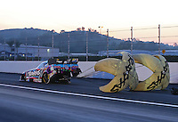 Feb 13, 2016; Pomona, CA, USA; NHRA funny car driver Courtney Force during the Winternationals at Auto Club Raceway at Pomona. Mandatory Credit: Mark J. Rebilas-USA TODAY Sports