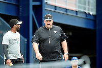 Wednesday August 10, 2016: New Orleans Saints head strength conditioning coach Dan Dalrymple (center) walks to practice with coaching assistant Leigh Torrence (left) at a joint training camp practice between New England Patriots and  the New Orleans Saints  training camp held Gillette Stadium in Foxborough Massachusetts. Eric Canha/CSM