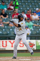 Salt Lake Bees third baseman Andy Marte (14) at bat during the Pacific Coast League baseball game against the Round Rock Express on August 10, 2013 at the Dell Diamond in Round Rock, Texas. Round Rock defeated Salt Lake 9-6. (Andrew Woolley/Four Seam Images)