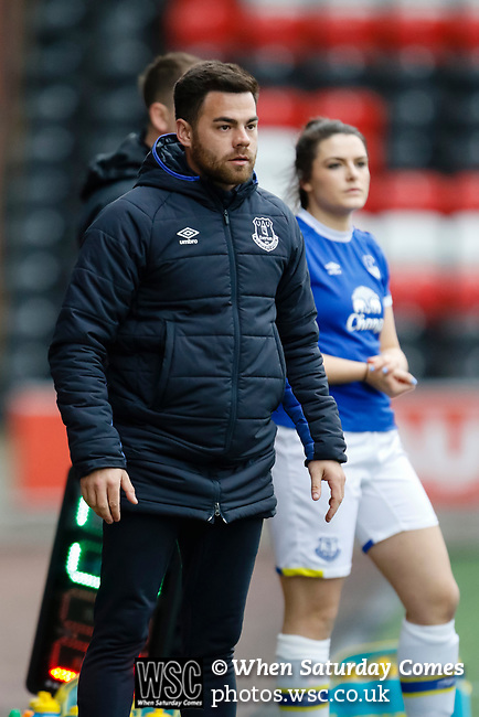 Liverpool Ladies 2 Everton Ladies 1, 19/03/2017. Select Security Stadium, SSE FA Cup Fifth Round. Everton's Assistant Manager Martin Ho during the game between Liverpool Ladies v Everton Ladies at The Select Security Stadium, Widnes, in the Women's SSE FA Cup Fifth Round. Photo by Paul Thompson.