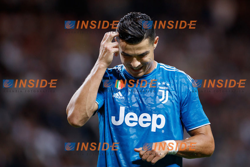 190810 Cristiano Ronaldo of Juventus looks dejected during the International Champions Cup match between Atletico Madrid and Juventus on August 10, 2019 in Stockholm. <br /> Photo: Kenta Jönsson / BILDBYRAN / Insidefoto / Cop 210<br /> ITALY ONLY