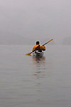 Sea kayaker, Alaska, Prince William Sound, bad weather, rain, David Fox,