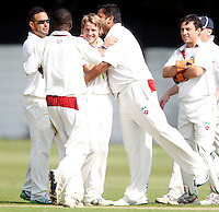 Hornsey players celebrate dismissing M Jadunath during the Middlesex County Cricket League Division Two game between Hornsey and Harrow Town at Tivoli Road, Crouch End on Sat Sept 3, 2011