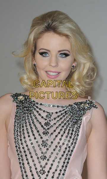 Lydia Rose Bright.The Brit Awards 2012 arrivals, O2 Arena, North Greenwich,  London, England 21st February 2012 .Brits headshot portrait pink silver beads beaded embellished jewel encrusted sleeveless .CAP/WIZ.© Wizard/Capital Pictures.