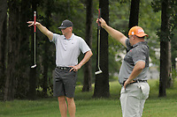 NWA Democrat-Gazette/BEN GOFF @NWABENGOFF<br /> Matt Nelson (left) and Matt Wait line up their putts on No. 18 Saturday, June 17, 2017, during the second round of the Chick-A-Tee golf tournament at Springdale Country Club.