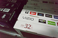 Boxes of the popular Vizio brand flat-screen television in a Best Buy in New York on Monday, July 27, 2015. Vizio filed its Form S-1 with the SEC in preparation for an initial public offering. The company manufactures budget-friendly flat screen televisions available in over 8000 retailers in the U.S. It also tracks your watching habits on its internet enabled televisions collecting viewing habits which it can monetize to advertisers.  (© Richard B. Levine)