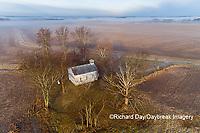63895-16713 Pleasant Grove Methodist Church at sunrise in fog-aerial-Marion Co. IL