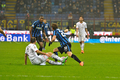 06.03.2016. Milan, Italy.  Adem Ljajic of FC Inter cuts inside Roberto Vitiello (Pal) during the Italian Serie A League soccer match between Inter Milan and US città Palermo at San Siro Stadium in Milan, Italy.