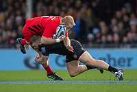 Saracens' Vincent Koch is tackled by Exeter Chiefs' Luke Cowan-Dickie<br /> <br /> Photographer Bob Bradford/CameraSport<br /> <br /> Gallagher Premiership Round 10 - Exeter Chiefs v Saracens - Saturday 22nd December 2018 - Sandy Park - Exeter<br /> <br /> World Copyright &copy; 2018 CameraSport. All rights reserved. 43 Linden Ave. Countesthorpe. Leicester. England. LE8 5PG - Tel: +44 (0) 116 277 4147 - admin@camerasport.com - www.camerasport.com