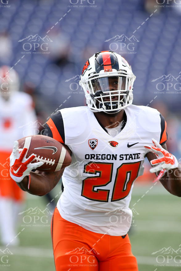 22 October 2016:   Oregon State's Tim Cook against Washington. Washington defeated Oregon State 41-17 at the University of Washington in Seattle, WA.