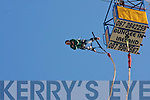 Tralee IT student,,Killarney,raised much needed funds for charity,by doing a bungee jump from the 175ft high cage above the south campus carpark,Clash,Tralee last Monday morning at the start of RAG week..