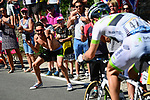 Fans cheer on the breakaway during Stage 6 of the 2018 Tour de France running 181km from Brest to Mur-de-Bretagne Guerledan, France. 12th July 2018. <br /> Picture: ASO/Alex Broadway | Cyclefile<br /> All photos usage must carry mandatory copyright credit (&copy; Cyclefile | ASO/Alex Broadway)
