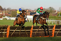 Winner of The I E P Financial Novices' HurdleAdicci (blue cap) ridden by Jonjo O'Neil Jnr and trained by Jonjo O'Neill  during Horse Racing at Plumpton Racecourse on 2nd December 2019