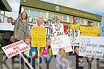 The Castlemaine Community Sportsfield Action Group protesting at the Kerry V's Galway football game at Austin Stack Park Tralee on Sunday pictured Margaret O'Dwyer, Esther Laverty, Nell Kelliher, Dan and Michael Fitzgerald, Renee and Cecilia Kelliher and Jasmin and Heather Grey.