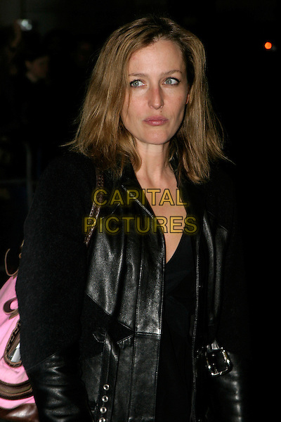 GILLIAN ANDERSON.A Gala Screening of George Michael: A Different Story at Curzon Mayfair Cinema,, London, UK..December 5th, 2005.Ref: AH.half length black leather.www.capitalpictures.com.sales@capitalpictures.com.© Capital Pictures.