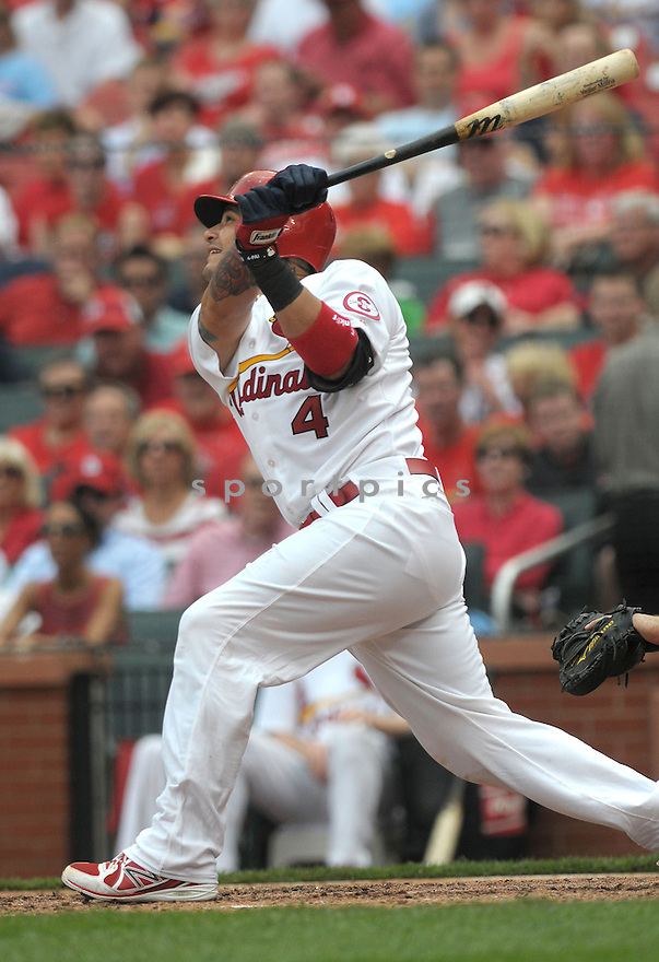 The St. Louis Cardinals defeated the Cincinnati Reds 10-0 on Wednesday April 10, 2013 at Busch Stadium in downtown St. Louis, Missouri.