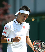 Kei Nishikori (JPN) during his match against Christian Harrison (USA)<br /> <br /> Photographer Rob Newell/CameraSport<br /> <br /> Wimbledon Lawn Tennis Championships - Day 2 - Tuesday 3rd July 2018 -  All England Lawn Tennis and Croquet Club - Wimbledon - London - England<br /> <br /> World Copyright &not;&uml;&not;&copy; 2017 CameraSport. All rights reserved. 43 Linden Ave. Countesthorpe. Leicester. England. LE8 5PG - Tel: +44 (0) 116 277 4147 - admin@camerasport.com - www.camerasport.com