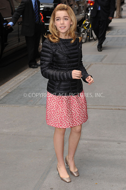 WWW.ACEPIXS.COM . . . . . .April 22, 2013...New York City....Kiernan Shipka leaving a taping of the Katie Couric Show on April 22, 2013 in New York City. ....Please byline: KRISTIN CALLAHAN - WWW.ACEPIXS.COM.. . . . . . ..Ace Pictures, Inc: ..tel: (212) 243 8787 or (646) 769 0430..e-mail: info@acepixs.com..web: http://www.acepixs.com .