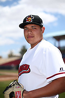 Luis Ortiz (25) of the High Desert Mavericks poses for a photo before a game against the Rancho Cucamonga Quakes at Heritage Field on May 8, 2016 in Adelanto, California. Rancho Cucamonga defeated High Desert, 11-5. (Larry Goren/Four Seam Images)