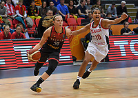 20200206 – OOSTENDE ,  BELGIUM : Belgian Julie Allemand (55) pictured in a duel with Canadian Miah-Marie Langlois (10) during a basketball game between the national teams of Canada and the National team of Belgium named the Belgian Cats on the first matchday of the FIBA Women's Qualifying Tournament 2020 , on Thursday 6  th February 2020 at the Versluys Dome in Oostende  , Belgium  .  PHOTO SPORTPIX.BE   DAVID CATRY