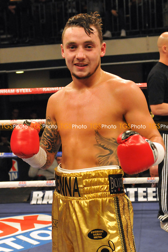 Mitchell Smith (gold shorts) defeats Antonio Horvatic - Boxing at York Hall, Bethnal Green, London - 27/03/15 - MANDATORY CREDIT: TGSPHOTO - Self billing applies where appropriate - contact@tgsphoto.co.uk - NO UNPAID USE