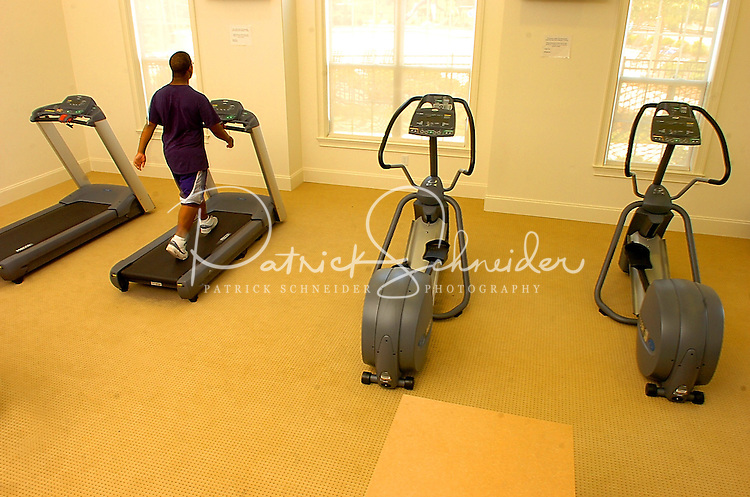 A man uses the treadmill at Berewick master-planned community in southwest Mecklenburg County, Charlotte, NC. The property is developed by Pappas Properties.