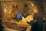 Interior of tomb KV62, Dr. Zahi Hawass and all Egyptian research team remove mummy,Tutankhamun and the Golden Age of the Pharaohs, Page 264