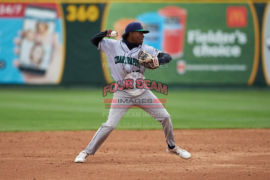 Cedar Rapids Kernels shortstop Yeltsin Encarnacion (43) throws to first base during a Midwest League game against the South Bend Cubs at Four Winds Field on May 8, 2019 in South Bend, Indiana. South Bend defeated Cedar Rapids 2-1. (Zachary Lucy/Four Seam Images)