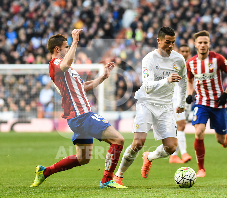 Real Madrid´s Cristiano Ronaldo and Atletico de Madrid´s Gabi during 2015/16 La Liga match between Real Madrid and Atletico de Madrid at Santiago Bernabeu stadium in Madrid, Spain. February 27, 2016. (ALTERPHOTOS/Javier Comos)