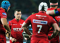 Gareth Davies of the Scarlets speaks to team mates during the Guinness PRO14 Round 6 match between Ospreys and Scarlets at The Liberty Stadium , Swansea, Wales, UK. Saturday 07 October 2017
