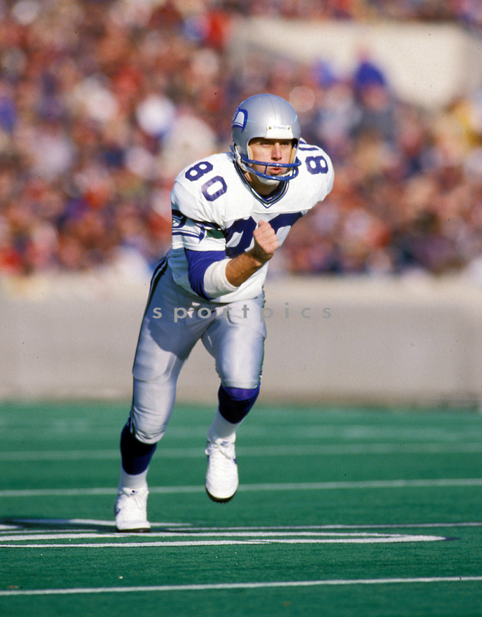 Seattle Seahawks Steve Largent (80) during a game from his 1987 season. Steve Largent  played for 14 years, all with the Seattle Seahawks,  was a 4-time Pro Bowler and inducted to the Pro Football Hall of Fame in 1995.
