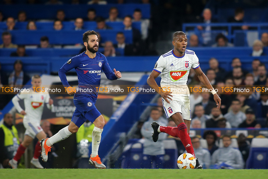 Loic Nego of Mol Vidi in action during Chelsea vs MOL Vidi, UEFA Europa League Football at Stamford Bridge on 4th October 2018