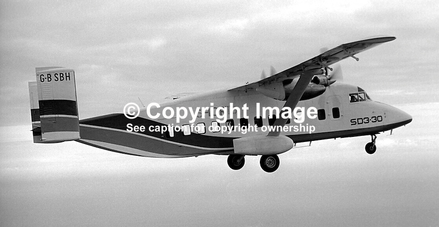 Short SD3-30 on its maiden flight on 22nd August 1974 from Belfast Harbour Airport, N Ireland. The crew were John Richardson, co-pilot, Cliff McKee, chief development officer, and Don Wright, chief test pilot. Described by Short Brothers plc as a luxury commuter aircraft it will carry 30 passengers plus crew. The aircraft is pictured flying over Co Down.197408220453k<br /> <br /> Copyright Image from Victor Patterson, 54 Dorchester Park, <br /> Belfast, UK, BT9 6RJ<br /> <br /> t1: +44 28 9066 1296 (from Rep of Ireland 048 9066 1296)<br /> t2: +44 28 9002 2446 (from Rep of Ireland 048 9002 2446)<br /> m: +44 7802 353836<br /> <br /> e1: victorpatterson@me.com<br /> e2: victorpatterson@gmail.com<br /> www.victorpatterson.com<br /> <br /> Please see my Terms and Conditions of Use at www.victorpatterson.com. It is IMPORTANT that you familiarise yourself with them.<br /> <br /> Images used on the Internet must be visibly watermarked i.e. &copy; Victor Patterson<br /> within the body of the image and copyright metadata must not be deleted. Images <br /> used on the Internet have a size restriction of 4kbs and will be chargeable at current<br />  NUJ rates unless agreed otherwise.<br /> <br /> This image is only available for the use of the download recipient i.e. television station, newspaper, magazine, book publisher, etc, and must not be passed on to any third <br /> party. It is also downloaded on condition that each and every usage is notified within 7 days to victorpatterson@me.com<br /> <br /> The right of Victor Patterson to be identified as the author is asserted in accordance with The Copyright Designs And Patents Act (1988).