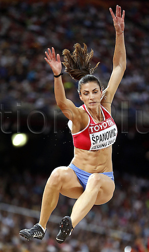 28.08.2015. Birds Nest Stadium, Beijing, China. Ivana Spanovic of Serbia competes during for womens long jump final at the 2015 IAAF World Championships at the Birds Nest National Stadium in Beijing, capital of China, Aug. 28, 2015.