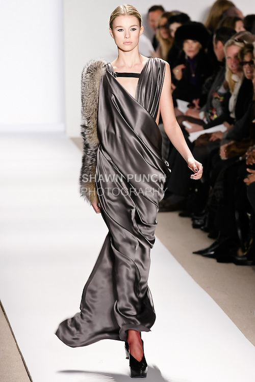 Keke Lindgard walks the runway in an outfit, by Dennis Basso for his Dennis Basso Fall Winter 2010 collection fashion show, during Mercedes-Benz Fashion Week Fall 2010.