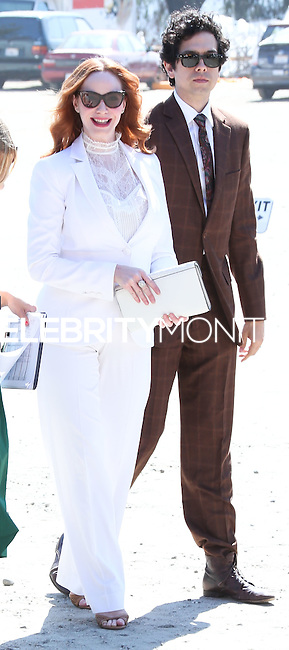 PACIFIC PALISADES, CA, USA - OCTOBER 11: Christina Hendricks, Geoffrey Arend arrive at the 5th Annual Veuve Clicquot Polo Classic held at Will Rogers State Historic Park on October 11, 2014 in Pacific Palisades, California, United States. (Photo by Xavier Collin/Celebrity Monitor)