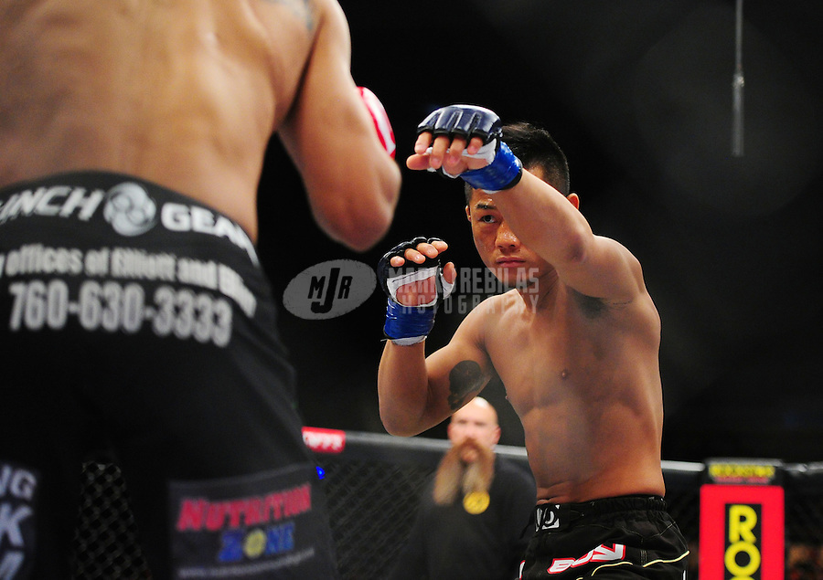 Apr. 9, 2011; San Diego, CA, USA; Strikeforce fighter Hiroyuki Takaya during an undercard bout at the Valley View Casino Center.  Mandatory Credit: Mark J. Rebilas-