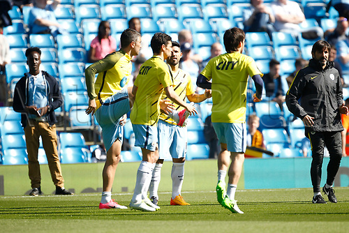 April 8th 2017, Etihad Stadium, Manchester, Lancashire, England; EPL Premier league football, Manchester City versus Hull City; Aleksander Kolarov, Jesús Navas, Sergio Aguero  and David Silva of Manchester City warm up before the game
